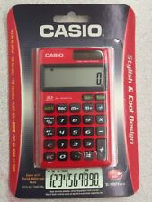 NEW Casio Electronic Calculator SL1000TV-RD-s 10 Digit LCD w/WALLET BURNING RED