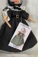 "Grodnertal Doll DRESS fit 11"" Tall Antique Wood Doll  Black Plaid Raine vonHohen"