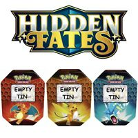 Pokemon TCG Hidden Fates EMPTY TINS - Charizard Raichu & Gyarados Lot of 3 Tins