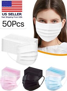 [50 PACK] SEALED Disposable Face Mask Adult 3PLY- PINK   BLUE  BLACK  WHITE