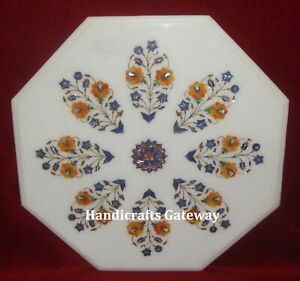 Octagonal White Marble Coffee Table Tops, Marble Handmade Center Table Top