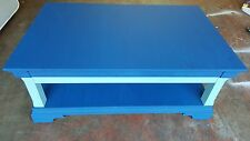 Navy and sky blue two piece coffee table set, on wheels.
