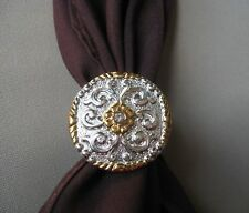 Scarf apache tie slide gold and silver color western square dance cowboy NEW