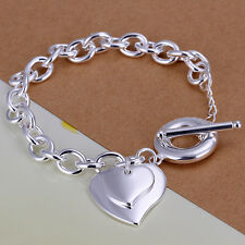 925 Stamped Sterling Silver Filled SF Double Heart Pendant Bracelet BL-A237