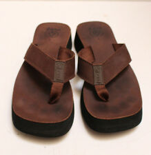 Womens Brown Leather REEF Sandal Flip Flop Shoes  Size 8
