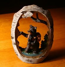 Faux Carved Birch Wood BLACK BEAR HIKING FOREST RIVER Figurine Cabin Decor - NEW