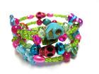 Rainbow Halloween Bracelet Sugar Skull Bracelet Day Of The Dead Jewelry