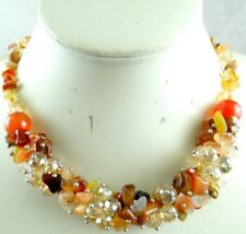 Natural agate &Crystal beads pendant Ladies Handmade Gem Necklace Jewellery