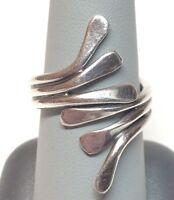 Sterling Silver 925 Modern Bypass Ring - Sz 8.5