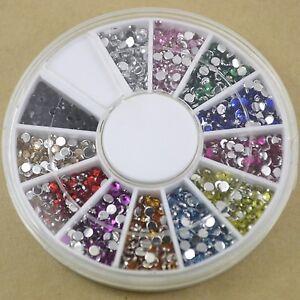 Rhinestone Wheel - Flat Back Crystal Diamante Gems - 12 Colours & 3 Sizes