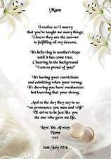 Wedding Day Thank You Gift Mother Of The Bride Or Groom Poem A4 Photo