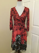 Diane von Furstenberg Suzelly coral  silk wrap dress US 6
