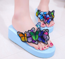 Womens Open Toe Butterfly Sandals Creepers Ethnic Beach Shoes Platform 3 Colors
