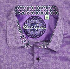 Men's Robert Graham Shirt Short Sleeve Button Purple Violet Size XL EUC