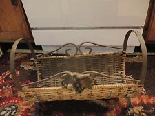 Magazine Rack Vintage Wrought Iron And Wicker