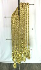 Metallic Gold Braided Drapery Curtain Tiebacks with Tassels - Approx 7' long @