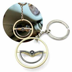 1960-63 VW Beetle Beige Dished Steering Wheel Key Chain - Wolfsburg Button 1200
