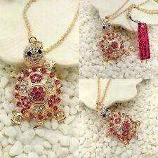 Betsey Johnson Hot Pink & Diamond White Crystal Turtle Tortoise Pendant Necklace