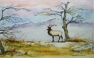 Aceo Art Trading Card Miniature Painting Antler Elk Picture Mountain Watercolor