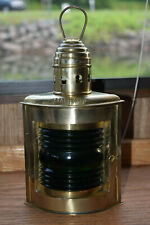"""Vintage Decore Brass Nautical Ship Lamp 12"""" With Green Starboard"""