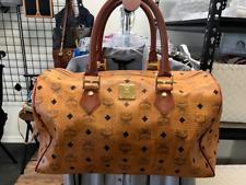 MCM LARGE Cognac Visetos Carry On Travel Duffle Bag Luggage Weekend Gym **RARE**