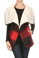 LOVE TREE Womens Red Buffalo Plaid Faux Shearling Lined Fleece Vest Jacket S M L