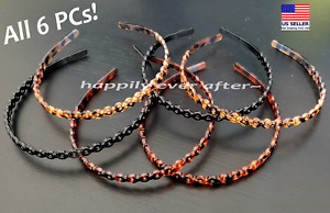 6 PCs Headband, Black & Brown Plastic Chain Headband, Comb Headband *US SELLER*