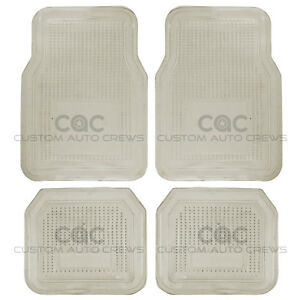 Car Floor Mat Rubber Smoke PVC Vinyl 4 PC Set All Weather MAX Protection