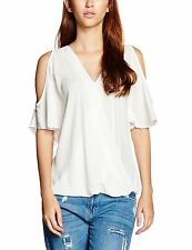 New Look Women's Cold Shoulder Wrap Tops White (Off White) 10