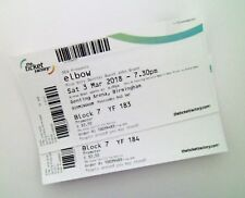 ELBOW TICKETS - Unused Ticket Stub(s) Birmingham 03/03/18 Memorabilia