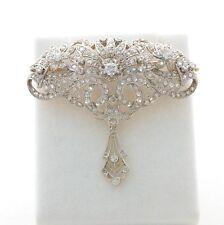 ESTATE PLATINUM DIAMOND FILIGREE BROOCH ANTIQUE PIN 1930's