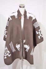 Vtg Poncho Sweater Brown White Aztec Mayan Tribal Alpaca Wool Blanket Heavy
