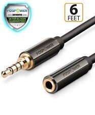 Fospower 6ft 3.5mm macho a hembra Cable de extensión de audio estéreo con adaptador de Aux