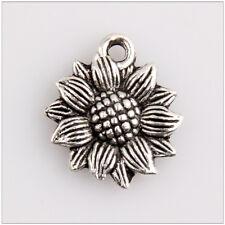 12 Sunflower Tibetan Silver Charms Pendants Jewelry Making Findings HN279