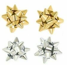 480 GIFT WRAPPING METALLIC STAR BOWS small gold silver Christmas gifts hampers