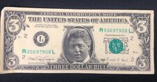 "Bill Clinton 3 Dollar Bill Original face States of America"" Funny Collectible"