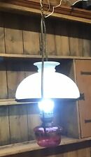 Antique Hanging Oil Lamp Converted To Electricity, Vintage Oil Lamp.
