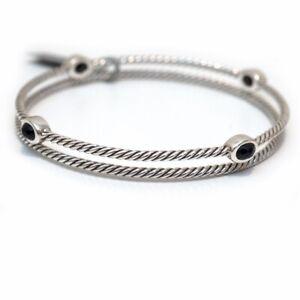 New DAVID YURMAN Confetti Bangle Bracelet Set Black Onyx & Sterling Silver Med