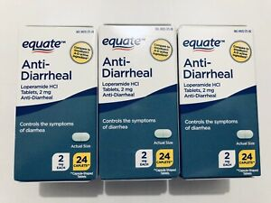 Equate Anti-Diarrheal HCI 2mg 24 Caplets, 3 Packs 72 Caplets. Exp: 04/2024