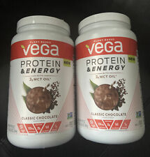 2 Vega Protein & Energy Powder, Classic Chocolate, 20g Protein, 1.9lb, 29.8oz