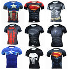 Superman Print  Men Compression Base Layer Short Sleeve Thermal Gym Sports Tops