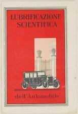 LUBRIFICAZIONE SCIENTIFICA DELL'AUTOMOBILE AUTOMOBILISMO MACCHINE D'EPOCA 1924