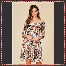 Floral Knit Off The Shoulder Dress, Size Small, NWT