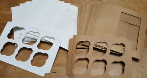 20 x 6 Hole White & Brown Cupcake Boxes with Display Window Inserts Quality Card