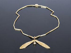 Natur Collier Kette Ahorn-Flügel mit Brillant Günter Krauss Stuttgart - Gold 750