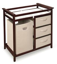 Badger Basket Modern Changing Table with 3 Baskets and Hamper, Cherry 112
