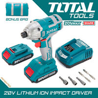 Total Tools Li-ion Impact Driver 20V Cordless 2.0Ah Battery Charger & Carry Case