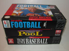 Tecmo Super Baseball & Pool & John Madden Football Super Nintendo SNES 3 Games +