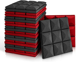 """Acoustic Foam Panels, 12 Pack Set 12"""" X 12"""" X 2"""" Black and Red Studio Wedge Tile"""