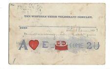 Postcard Western Union 1907 Pictogram Puzzle Card